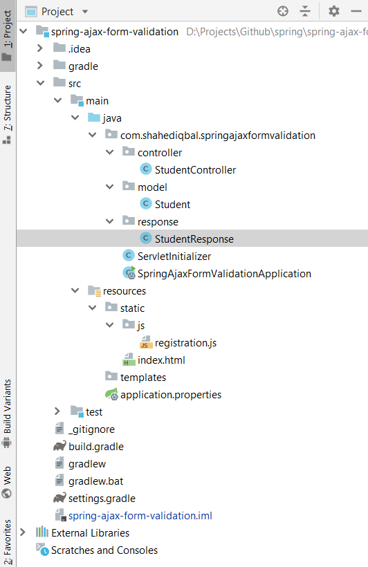 Spring MVC and JQuery Ajax form submit and validation project structure